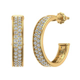 19.63 mm Diameter Dual row Pave Set Diamond Hoop Earrings 1.50 ctw 14K Gold (G,SI) - Yellow Gold