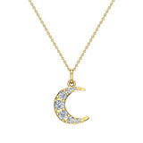 Crescent Dainty Charm Diamond Necklace 18K Gold 0.24 ctw (G,SI) - Yellow Gold