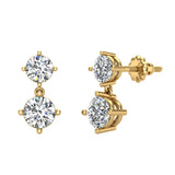 Round Brilliant Drop Two stone Diamond Dangle Earrings 14K Gold (G,SI) - Yellow Gold