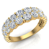 Connect the Dots Graduating Diamonds Two Rows Riviera Fashion Band Ring 14K Gold (I,I1) - Yellow Gold