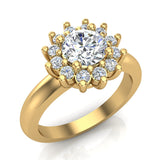 Halo Engagement Ring Classic Style Floral Halo Shared Prong Setting 14K Gold 1.05 Carat Total Weight (I,I1) - Yellow Gold
