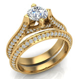 Micro Pave Solitaire Diamond Wedding Ring Set 18K Gold (G,VS) - Yellow Gold