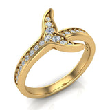 Fish-Tail Design Shank Eternity Band Wedding Ring 14K Gold (G,SI) - Yellow Gold