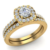 Round Cut Cushion Halo Ring Set 1.00 Carat Total Weight 14K Gold (G,I2) - Yellow Gold