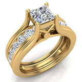 Princess Cut Adjustable Band Engagement Ring Set 14K Gold (I,I1) - Yellow Gold