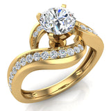 Intertwined Diamond Engagement Ring Solitaire Loop 18k Gold 1.00 ct (G,VS) - Yellow Gold