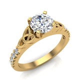 0.90 Carat Art Deco Trinity Knot Solitaire Wedding Ring 14K Gold (G,I1) - Yellow Gold