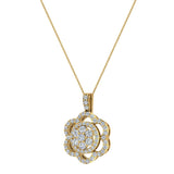 18K Gold Necklace Flower Diamond Loop Statement piece (G,VS) - Yellow Gold