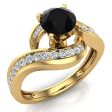 Intertwined Solitaire Natural Black & White Diamond Engagement Ring 14K Gold - Yellow Gold