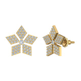 14K Gold Wild-Flower Petal Diamond Stud Earrings ½ ctw (I,I1) - Yellow Gold