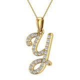 Initial Necklace Y Letter charms Diamond pendant necklace 18K Gold (G,VS) - Yellow Gold