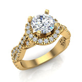 Twist Shank Halo Diamond Engagement Ring 4 Prong Setting 1.44 Carat Total Weight 14K Gold (G,SI) - Yellow Gold