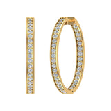 18K Gold Hoop Earrings 33 mm Diamond Line Setting Secure Click-in Lock (G,VS) - Yellow Gold
