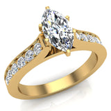 Cathedral Marquise Cut with Pave Accent Diamond Engagement Ring in 14k Gold (G,I1) - Yellow Gold