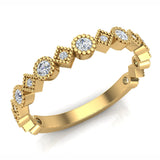 Circles & Squares Stacking Milgrain Diamond Wedding Band 0.32 ctw 14K Solid Gold (G,I1) - Yellow Gold