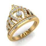 Fashion Princess Tiara Crown Diamond Ring 0.50 carat total weight Band Style 18K Gold (G,VS) - Yellow Gold