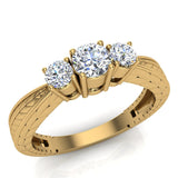 Past Present Future Style Engraved Three Stone Anniversary Ring Diamond Engagement Ring 14K Gold (G,SI) - Yellow Gold