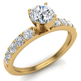 Diamond Engagement Ring with Accent Diamond Shank 18k Gold 0.85 ct (G,VS) - Yellow Gold