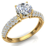 Glitz Design Trio Pave Three row Diamond Engagement Ring 14K Gold 1.20 ct (I,I1) - Yellow Gold