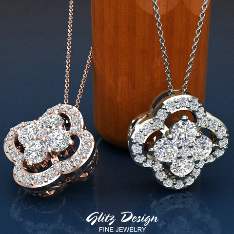 0.80 ct tw Loop style Flower Cluster Diamonds Necklace 18K Gold (G,VS)