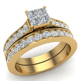 Four Quad Princess Cut  Diamond Cathedral Accent Wedding Ring Set 14K Gold (G,VS) - Yellow Gold
