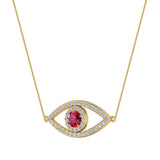 0.94 Carat Evil Eye Diamond & Ruby Pendant 14K Gold Necklace - Yellow Gold