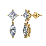 Princess & Marquise Drop Two stone Diamond Dangle Earrings 18K Gold (G,VS) - Yellow Gold