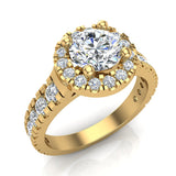 1.81 Carat Total Weight Dual Row Wide Shank Halo Diamond Engagement Ring 14K Gold (G,SI) - Yellow Gold