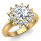 Halo Engagement Ring Classic Style Floral Halo Shared Prong Setting 18K Gold 1.30 Carat Total Weight (G,SI) - Yellow Gold