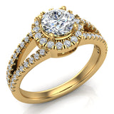 Split Shank Halo Diamond Ring 1.20 ctw Engagement Ring 14k Gold (G,SI) - Yellow Gold