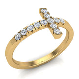 Sideways Cross Diamond Ring 14k Gold (I,I1) - Yellow Gold