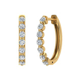 Oval Shaped Diamond Huggies Style Hoop Earrings Secure Click-in Lock Setting 14K Gold (I,I1) - Yellow Gold