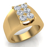 Six Stone Men's White Diamond Cluster Ring 14k Gold (G, SI) - Yellow Gold