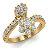 Blooming Flower Plant Bypass Style Diamond Fashion Ring Band 0.65 Carat Total Weight 18K Gold (G,VS) - Yellow Gold
