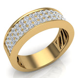 Unisex Wedding Band Three row Diamond Ring 14K Gold 1.00 cttw (G,SI) - Yellow Gold