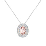 Oval Cut Pink Morganite Double Halo 2 tone necklace 14K Gold (I,I1) - Rose Gold