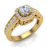 Passionate Cushion Halo Round Diamond Engagement Ring 1.00 ctw 14K Gold (G,I1) - Yellow Gold