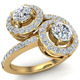 Two-Stone Diamond Halo Setting Engagement Ring 18k Gold (G,VS) - Yellow Gold