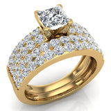 Intertwined Diamond Engagement Ring Cushion Shape 14k Gold 1.27 ct tw (I,I1) - Yellow Gold