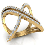 Multi Row Diamond Cocktail Knuckle Ring 18K Gold (G,VS) - Yellow Gold