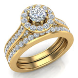 Halo with Accent Diamonds Wedding Ring Set 14K Gold(G,SI) - Yellow Gold