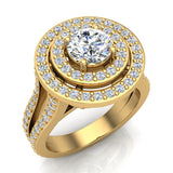 Statement Round Diamond Double Halo Split Shank Engagement Ring 1.77 ctw 14K Gold (G,I1) - Yellow Gold