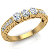 Three stone ring diamond vintage rings for women Past Present Future Anniversary Style 1/2 ct tw 14K Gold (G, SI) - Yellow Gold