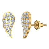 Angel Wing Pave Diamond Cluster Stud Earrings 0.50 ctw 14K Gold (I,I1) - Yellow Gold