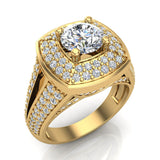 Solitaire Diamond Square Halo Split Shank wedding Ring 14K Gold (I,I1) - Yellow Gold