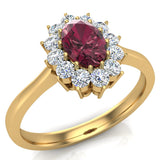 January Birthstone Garnet Oval 14K Gold Diamond Ring 0.80 ct tw - Yellow Gold
