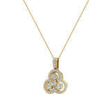 14K Gold Necklace Three stone Diamond Loop Pendant (I,I1) - Yellow Gold