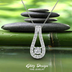 0.46 ct tw Teardrop Halo Diamond Necklace 18K Gold (G,VS)