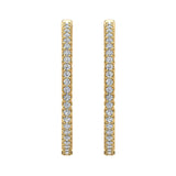 Exquisite 34.69 mm Diameter Inside Out Diamond Hoop Earrings 1.80 Ctw 14K Gold Shared Prong Setting (I,I1) - Yellow Gold