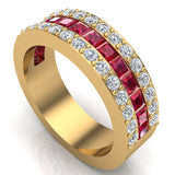 Mens Wedding Rings Ruby Gemstones Rings 14K Gold Diamond Ring 2.97 carat tw - Yellow Gold
